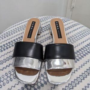 Zara Women Silver & Black Sandal Heels